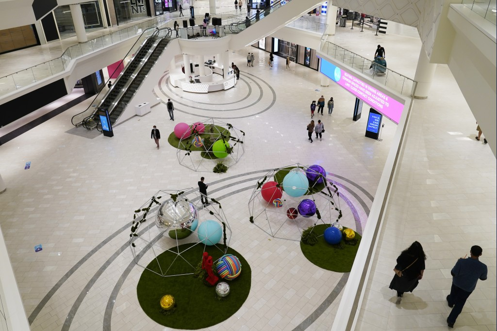 Shoppers wend their way through multiple levels of retail stores and amusement attractions at the American Dream Mall, Thursday, Oct. 1, 2020, in East...