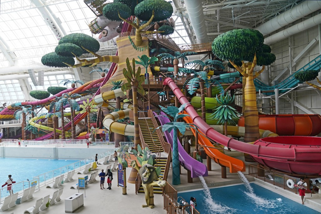 Giant waterslides are featured inside the Dreamworks Water Park at the American Dream Mall, Thursday, Oct. 1, 2020, in East Rutherford, New Jersey aft...