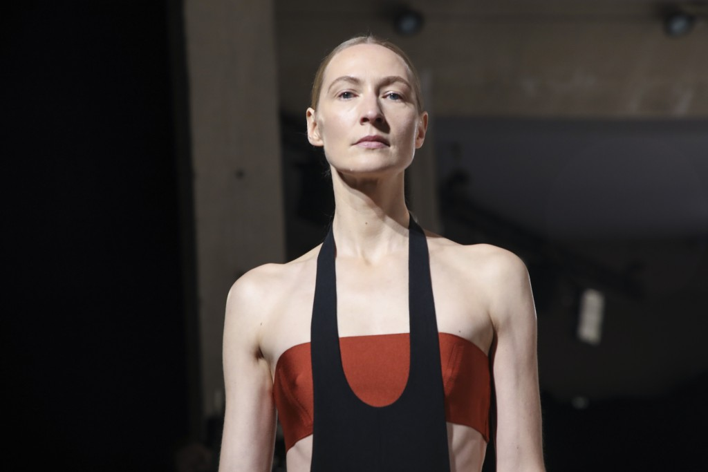 A model wears a creation for the Hermes Spring-Summer 2021 fashion collection, Saturday, Oct. 3, 2020, during Paris fashion week. (Photo by Vianney Le...
