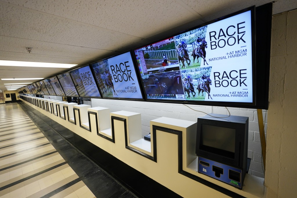 Betting windows are empty at Pimlico race track, Friday, Oct. 2, 2020, in Baltimore, Md., ahead Saturday's Black-Eyed Susan and Preakness Stakes races...