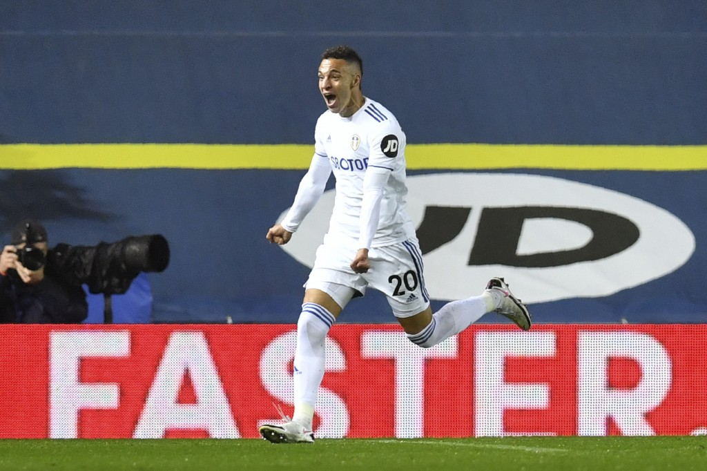 Leeds United's Rodrigo celebrates after scoring his side's first goal during the English Premier League soccer match between Leeds United and Manchest...