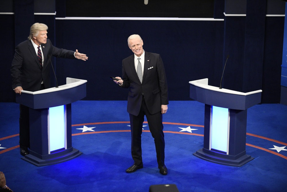 "This image released by NBC shows Alec Baldwin as Donald Trump, left, and Jim Carrey as Joe Biden during the ""First Debate"" Cold Open on ""Saturday Nigh..."