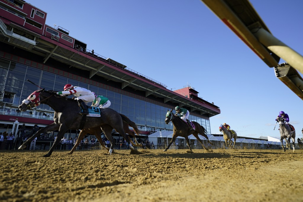 Miss Marissa (9), with Daniel Centeno aboard, wins the Black Eyed Susan horse race at Pimlico Race Course, Saturday, Oct. 3, 2020, in Baltimore. (AP P...