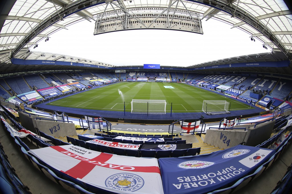 In a photo taken with a wide-angle lens, a general view of empty stands of the King Power Stadium before the English Premier League soccer match betwe...