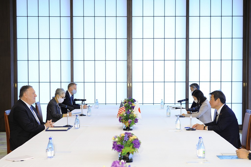 U.S. Secretary of State Mike Pompeo, left, meets with Japan's Foreign Minister Toshimitsu Motegi, right, in Tokyo Tuesday, Oct. 6, 2020, ahead of the ...