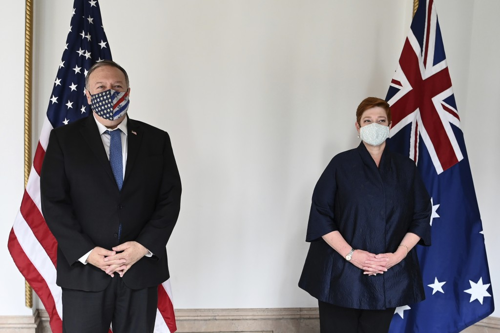 U.S. Secretary of State Mike Pompeo, left, and Australian Foreign Minister Marise Payne pose for a photo prior to their bilateral meeting in Tokyo Tue...