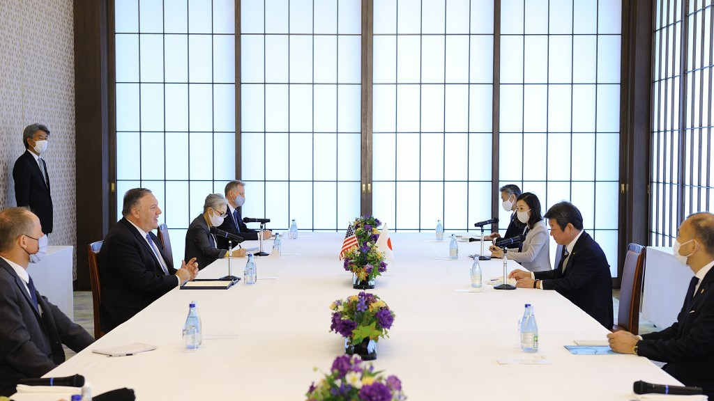 U.S. Secretary of State Mike Pompeo, second from left, meets with Japan's Foreign Minister Toshimitsu Motegi, right, in Tokyo Tuesday, Oct. 6, 2020, a...