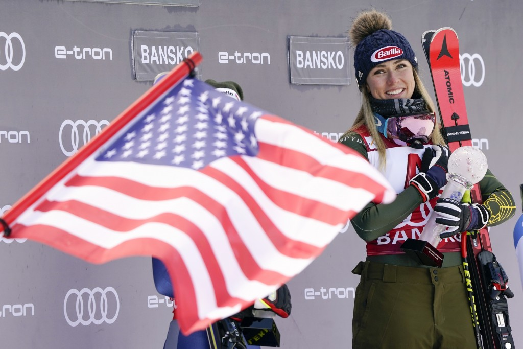 FILE - In this Sunday, Jan. 26, 2020 file photo, United States' Mikaela Shiffrin smiles on the podium after winning the alpine ski, women's World Cup ...