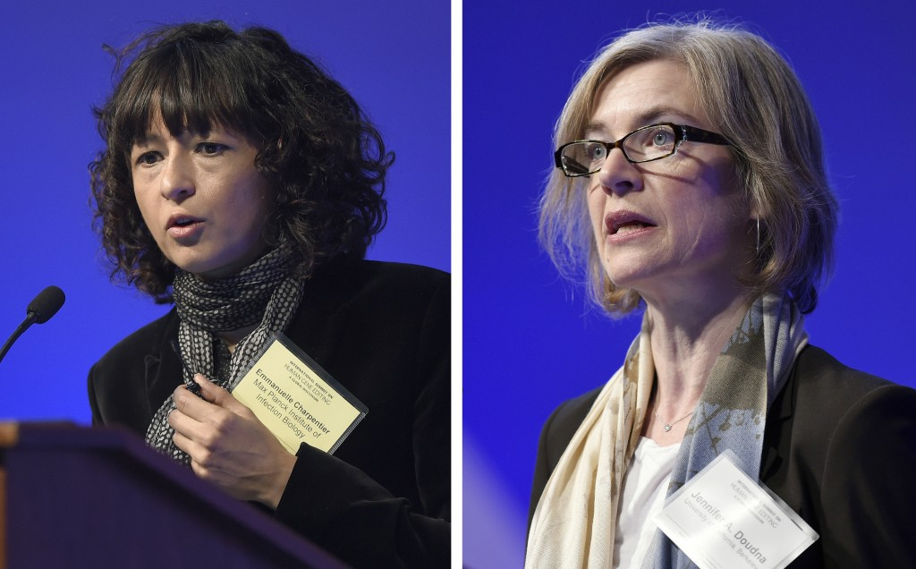 FILE - This Tuesday, Dec. 1, 2015 file combo image shows Emmanuelle Charpentier, left, and Jennifer Doudna, both speaking at the National Academy of S...
