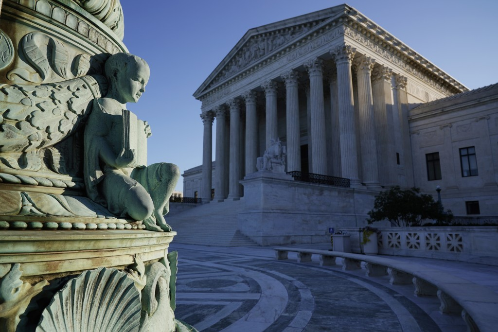 In this Oct. 5, 2020, photo the Supreme Court in Washington. Tech giants Google and Oracle are clashing at the Supreme Court in a copyright dispute wo...