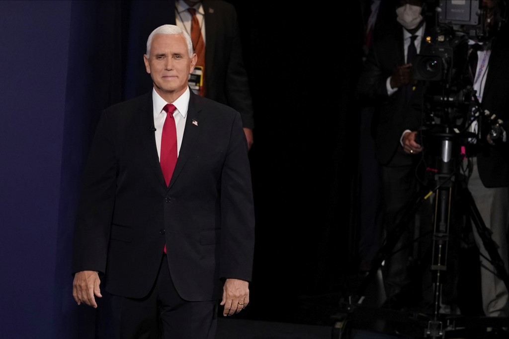 Vice President Mike Pence arrives for the vice presidential debate Wednesday, Oct. 7, 2020, at Kingsbury Hall on the campus of the University of Utah ...