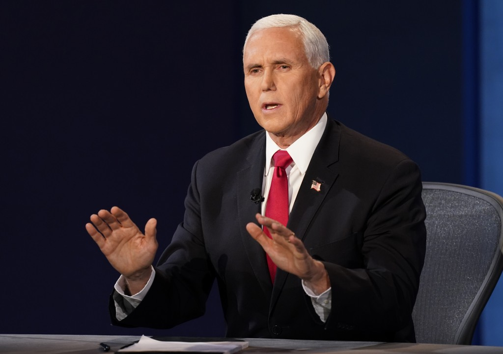 Vice President Mike Pence makes a point during the vice presidential debate with Democratic vice presidential candidate Sen. Kamala Harris, D-Calif., ...