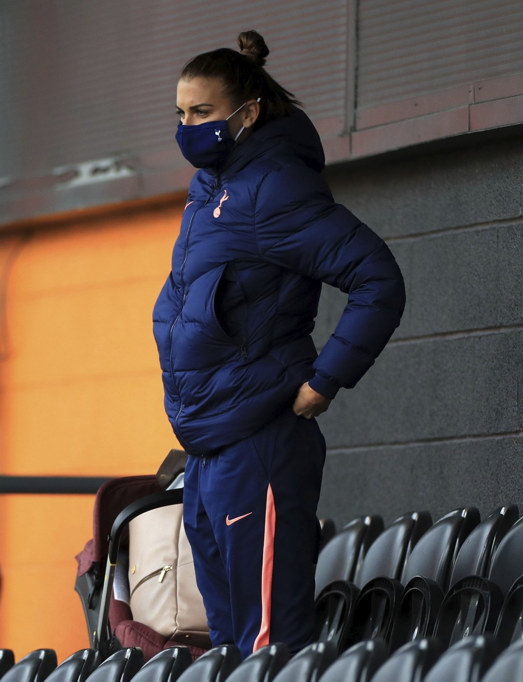 Tottenham Hotspur women's Alex Morgan watches from the stands, during the women's Continental League Cup match between Tottenham Hotspur and London Ci...