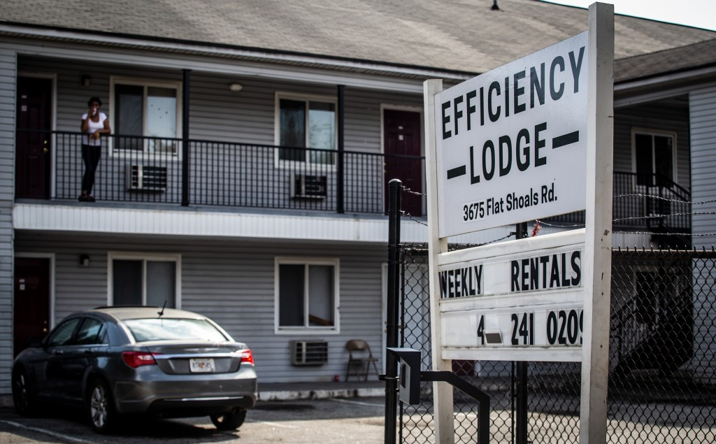 The entrance to Efficiency Lodge is shown on Wednesday, Oct. 7, 2020 in Decatur, Ga. Some of the residents, along with members of the Atlanta-area Hou...