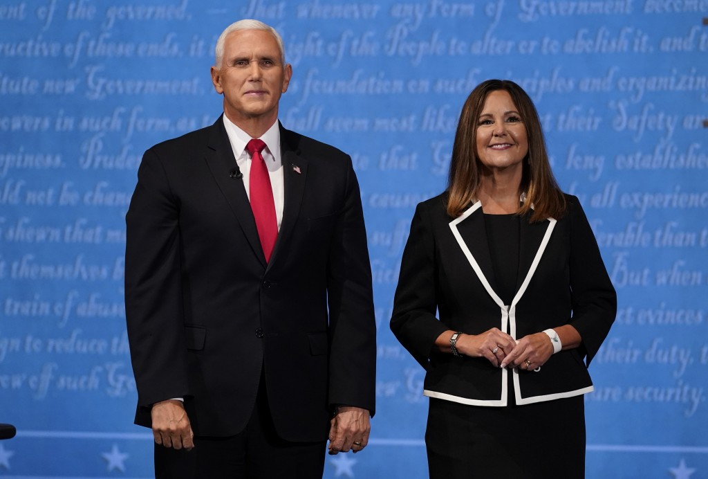 Vice President Mike Pence stands with his wife Karen Pence following the vice presidential debate with Democratic vice presidential candidate Sen. Kam...