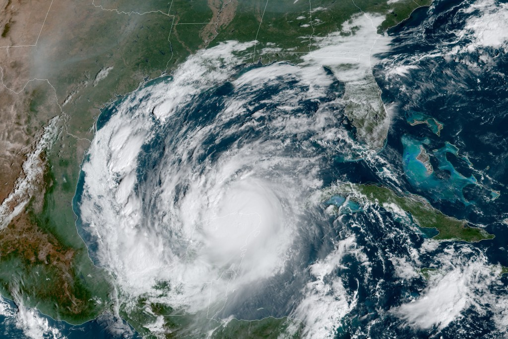 This Wednesday, Oct. 7, 2020 satellite image made available by National Oceanic and Atmospheric Administration shows Hurricane Delta in the Gulf of Me...
