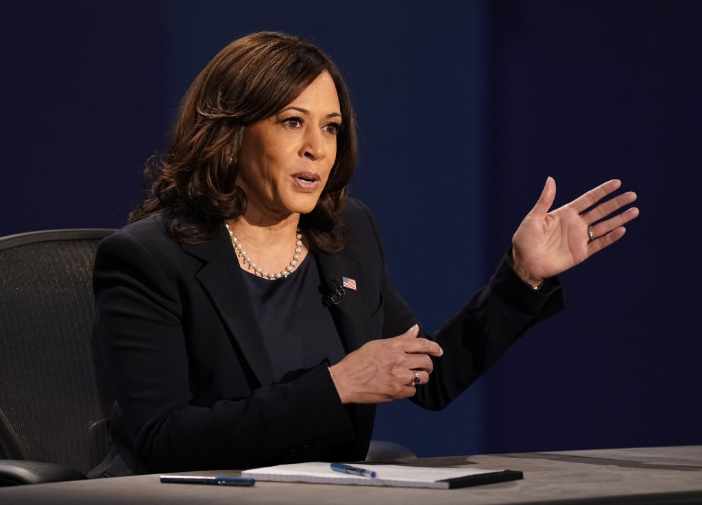 Democratic vice presidential candidate Sen. Kamala Harris, D-Calif., makes a point during the vice presidential debate Vice President Mike Pence Wedne...