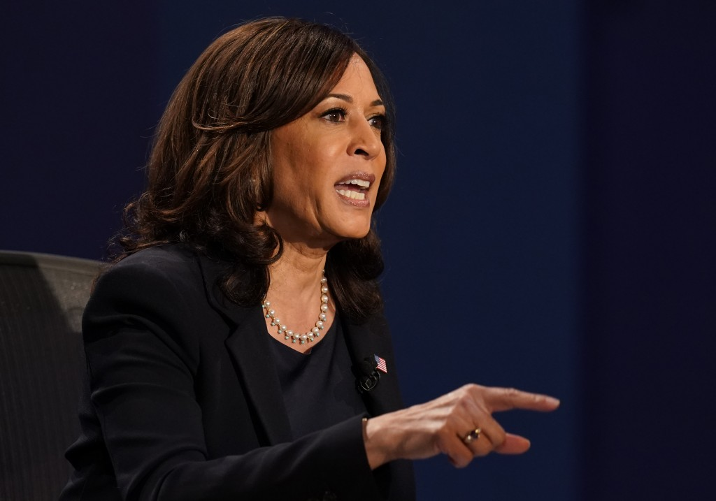 Democratic vice presidential candidate Sen. Kamala Harris, D-Calif., makes a point during the vice presidential debate with Vice President Mike PenceW...