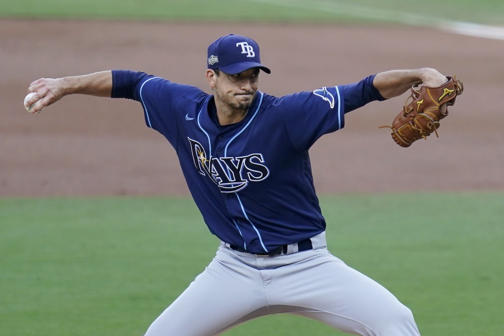 Tampa Bay Rays starting pitcher Charlie Morton (50) throws against the New York Yankees during the first inning in Game 3 of a baseball American Leagu...