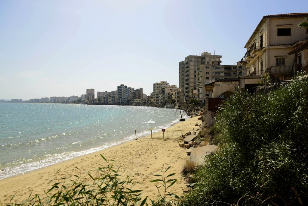 The beach with abandoned hotels seen after police open the beachfront of Varosha, an uninhabited, fenced-off suburb in war-divided Cyprus' in the Turk...