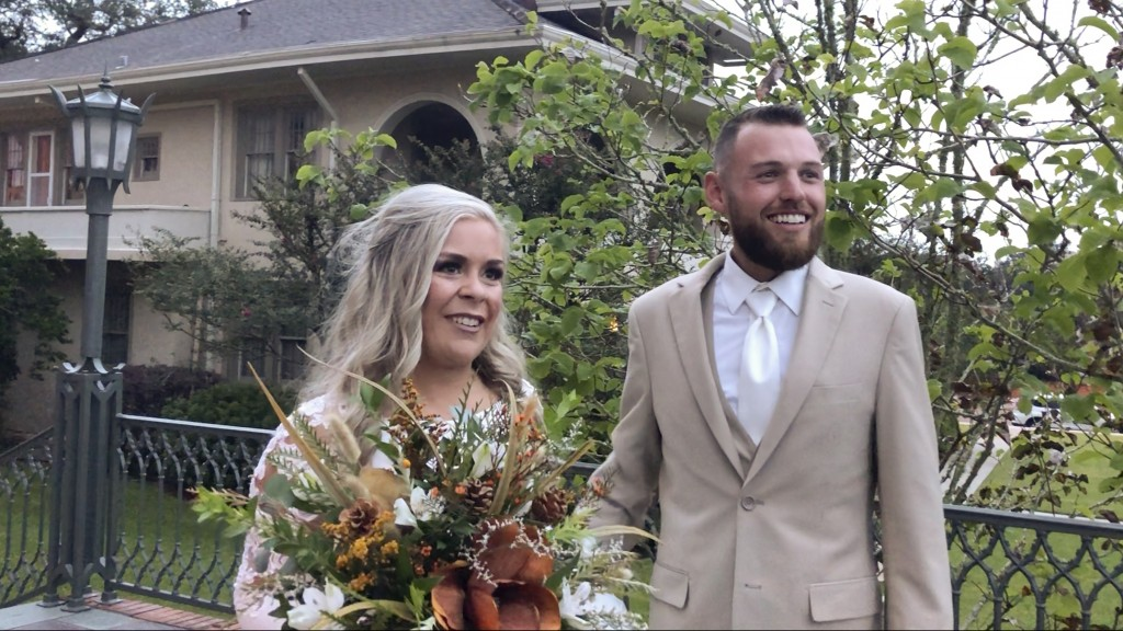 HFM TBA*In this image made from video, Ian and Taylor Gaspard from Abbeville speak to a reporter after geting married Thursday, Oct. 8, 2020, in Abbev...