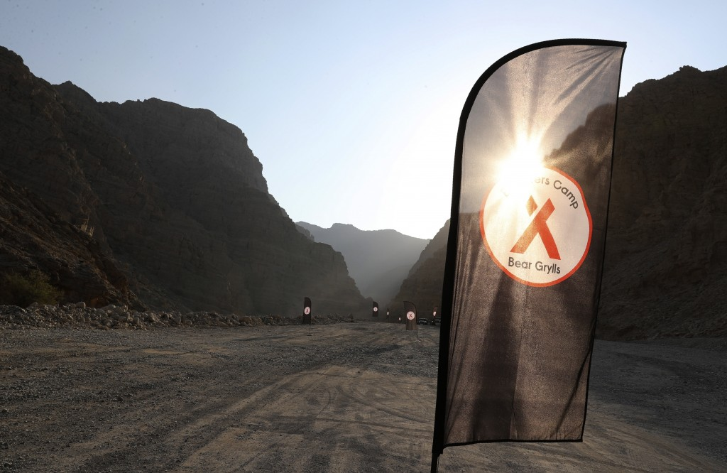The sun rises at the Bear Grylls Explorer Camp in Jebel Jais, about 30 kms north east of Ras al-Khaimah, United Arab Emirates, Thursday, Oct. 8, 2020....