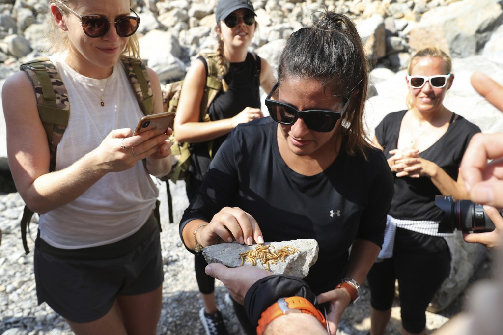 Guests try to eat worms during a survival trial at the Jebel Jais, about 30 kms north east of Ras al-Khaimah, United Arab Emirates, Thursday, Oct. 8, ...