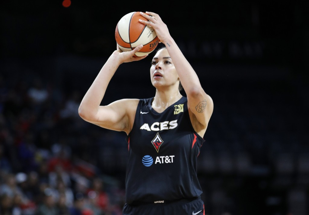 Las Vegas Aces' Liz Cambage, of Australia, plays against the Washington Mystics during the first half of Game 4 of a WNBA playoff basketball series Se...