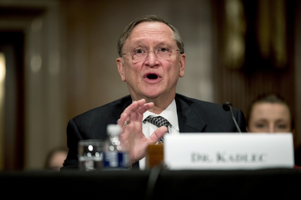 FILE - In this March 3, 2020 file photo, Health and Human Services Assistant Secretary for Preparedness and Response Dr. Robert Kadlec testifies befor...