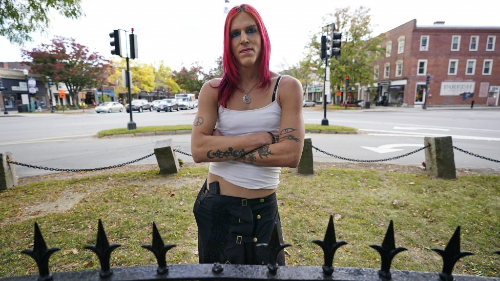 Aria DiMezzo, a Republican candidate for sheriff in Cheshire County, New Hampshire, poses at Central Square, Tuesday, Oct. 6, 2020, in Keene, N.H. Rep...