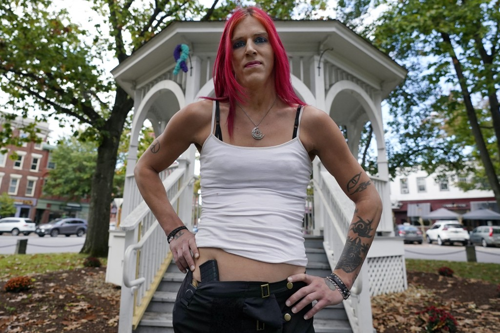 Aria DiMezzo, a Republican candidate for sheriff in Cheshire County, New Hampshire, poses at the Central Square gazebo, Tuesday, Oct. 6, 2020, in Keen...