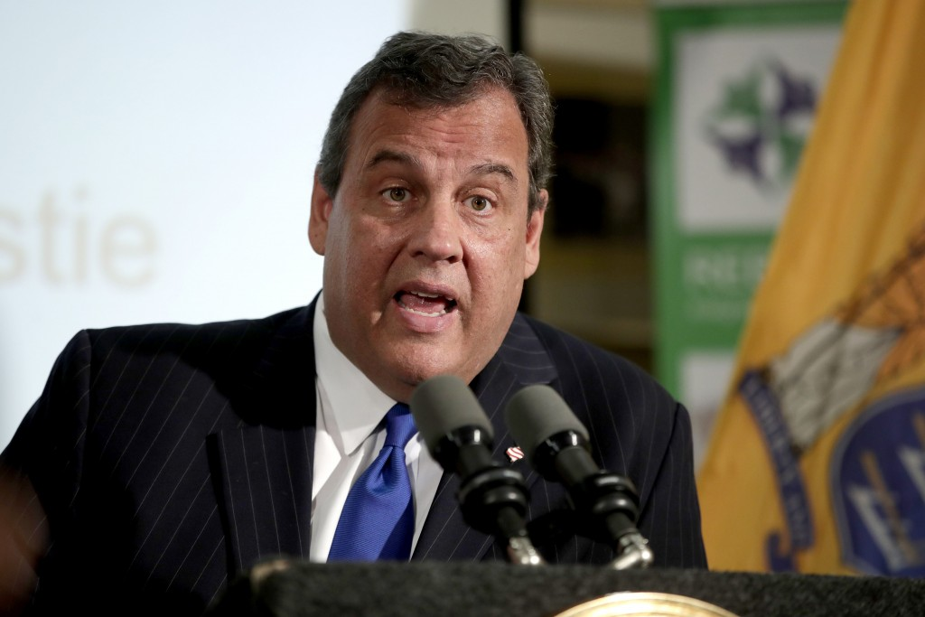FILE - In this Nov. 29, 2017, file photo, New Jersey Gov. Chris Christie speaks during a news conference in Newark, N.J.  Christie said in a Twitter p...