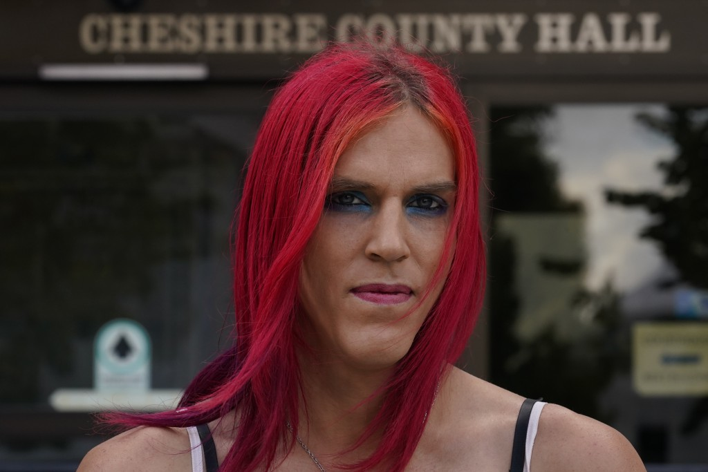 Aria DiMezzo, a Republican candidate for sheriff in Cheshire County, New Hampshire, poses at the Cheshire County Hall, which houses the sheriff's offi...