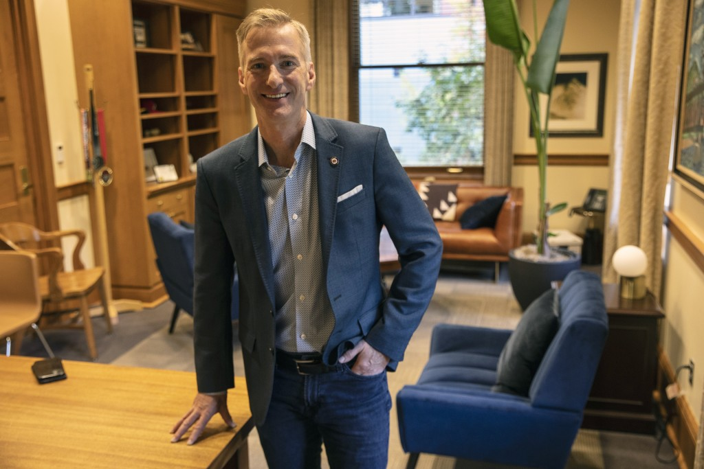 Portland, Oregon Mayor Ted Wheeler poses in a City Hall office on Friday, Oct. 9, 2020, in Portland. With Election Day weeks away, Portland Mayor Ted ...