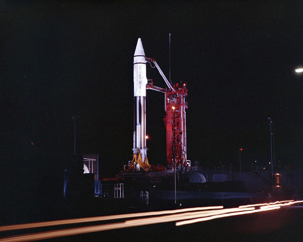 This Sept. 20, 1966 photo provided by the San Diego Air and Space Museum shows an Atlas Centaur 7 rocket on the launchpad at Cape Canaveral, Fla. NASA...