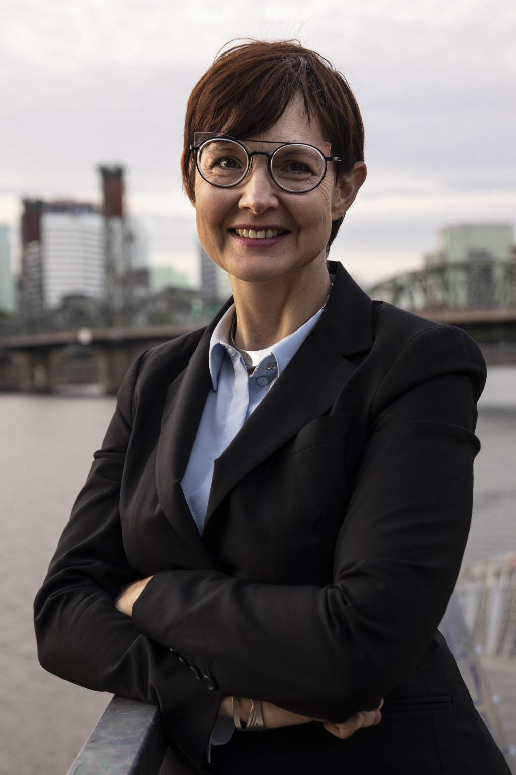 Portland, Oregon mayoral candidate Sarah Iannarone poses in Portland Friday, Oct. 9, 2020. With Election Day weeks away, Portland Mayor Ted Wheeler is...