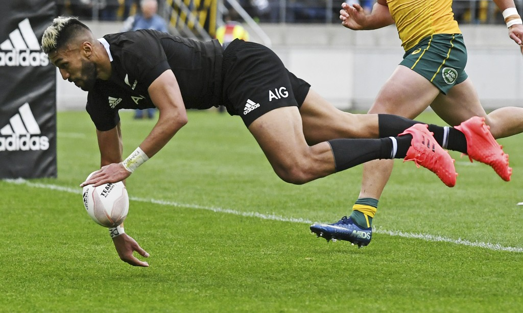 New Zealand's Rieko Ioane fails to ground the ball over the try line during the Bledisloe Cup rugby game between the All Blacks and the Wallabies in W...
