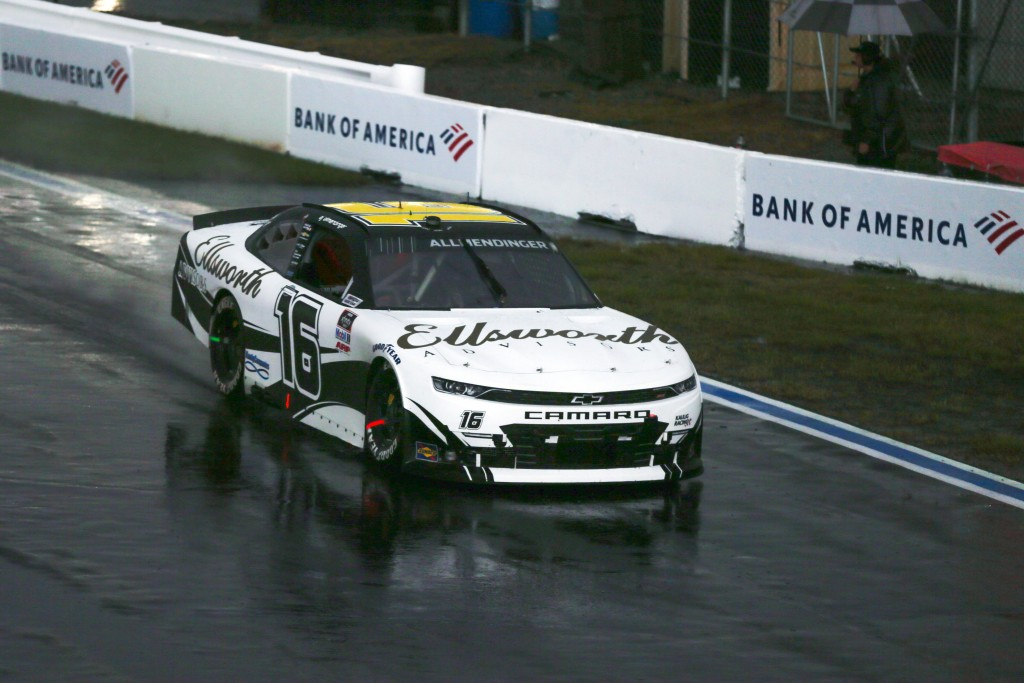 AJ Allmendinger competes during a NASCAR Xfinity Series auto race at Charlotte Motor Speedway in Concord, N.C., Saturday, Oct. 10, 2020. (AP Photo/Nel...
