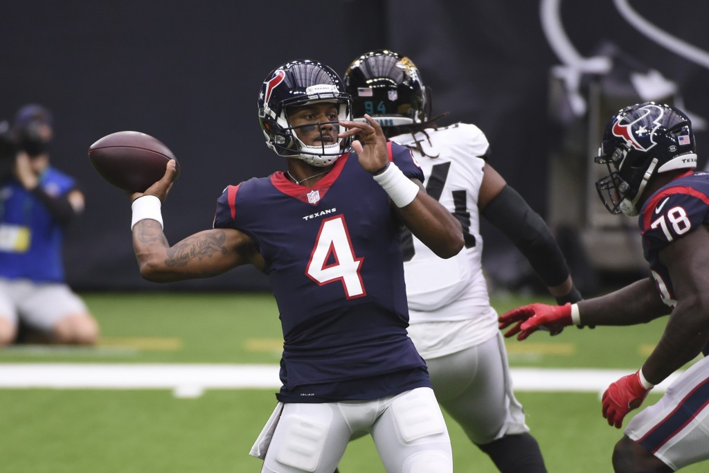 Houston Texans quarterback Deshaun Watson (4) throws against the Jacksonville Jaguars during the first half of an NFL football game Sunday, Oct. 11, 2...