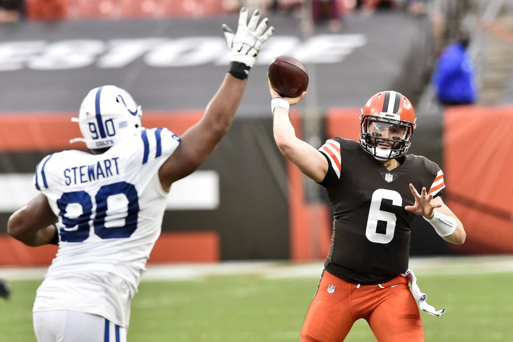 Cleveland Browns quarterback Baker Mayfield (6) throws during the first half of an NFL football game against the Indianapolis Colts, Sunday, Oct. 11, ...