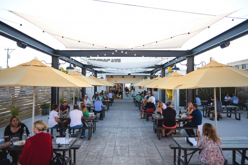This photo provided by Adam M. Rammel shows the beer garden at The Syndicate on Aug. 20, 2020 in Bellefontaine, Ohio.  Many restaurants, event planner...
