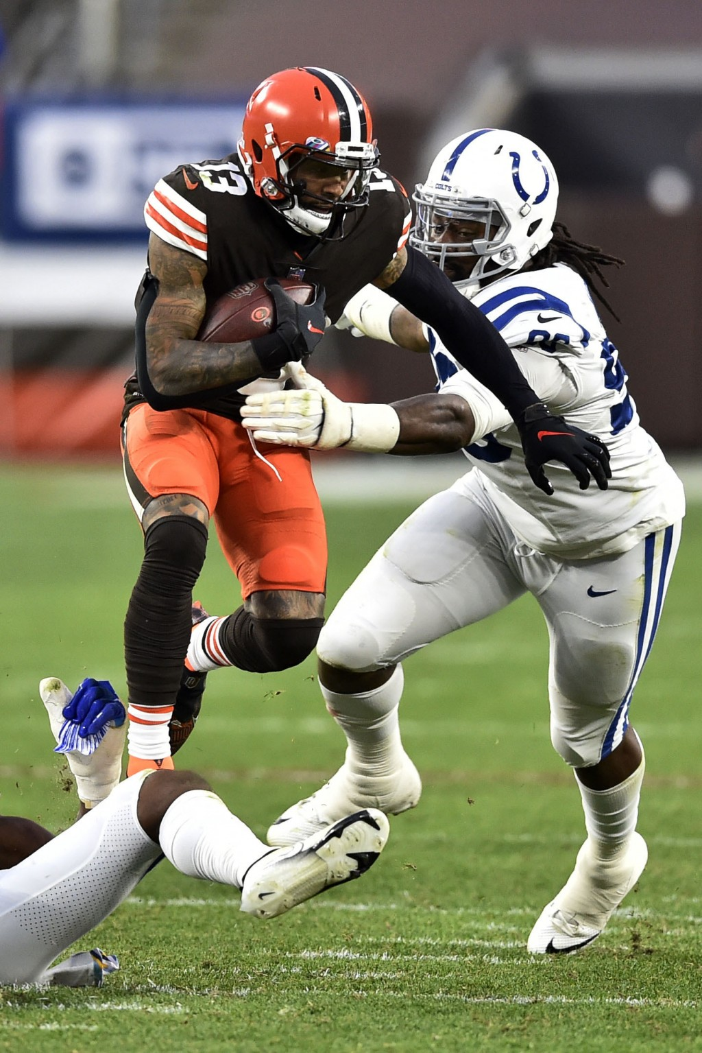 Cleveland Browns wide receiver Odell Beckham Jr. (13) rushes during the second half of an NFL football game against the Indianapolis Colts, Sunday, Oc...