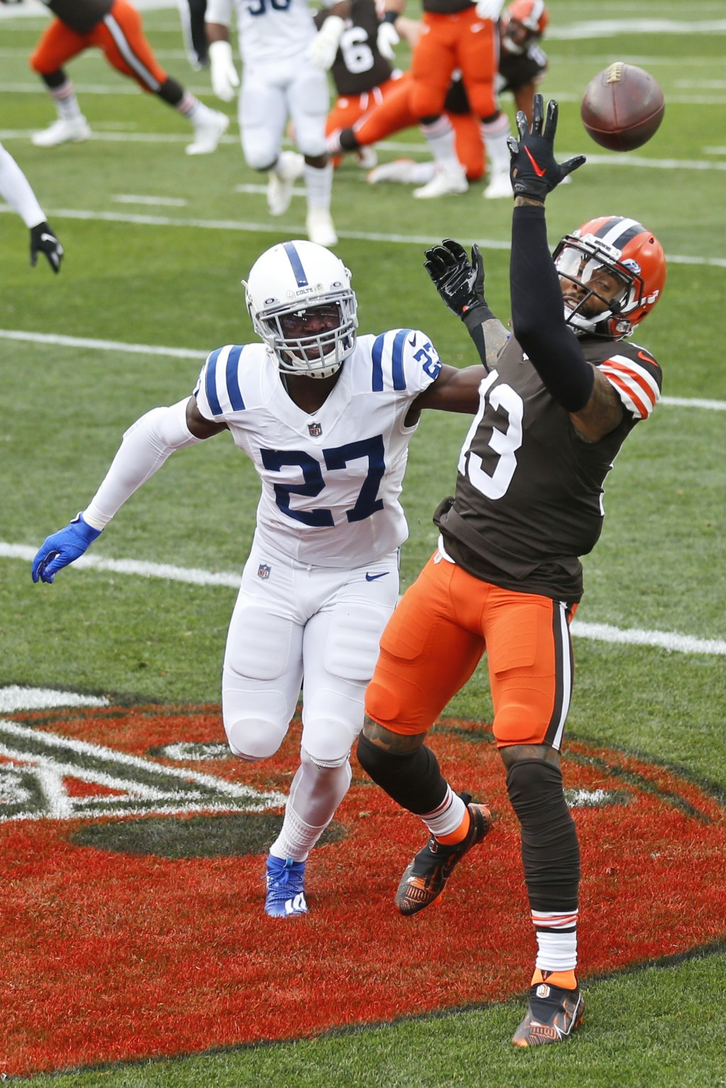 Cleveland Browns wide receiver Odell Beckham Jr. (13) cannot hold onto the ball in the end zone as Indianapolis Colts cornerback Xavier Rhodes (27) de...