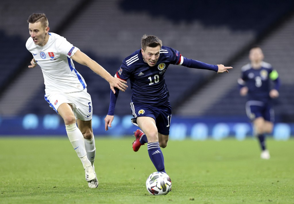 Scotland's Callum McGregor, right, and Slovakia's Jan Gregus battle for the ball during the UEFA Nations League soccer match between Scotland and Slov...