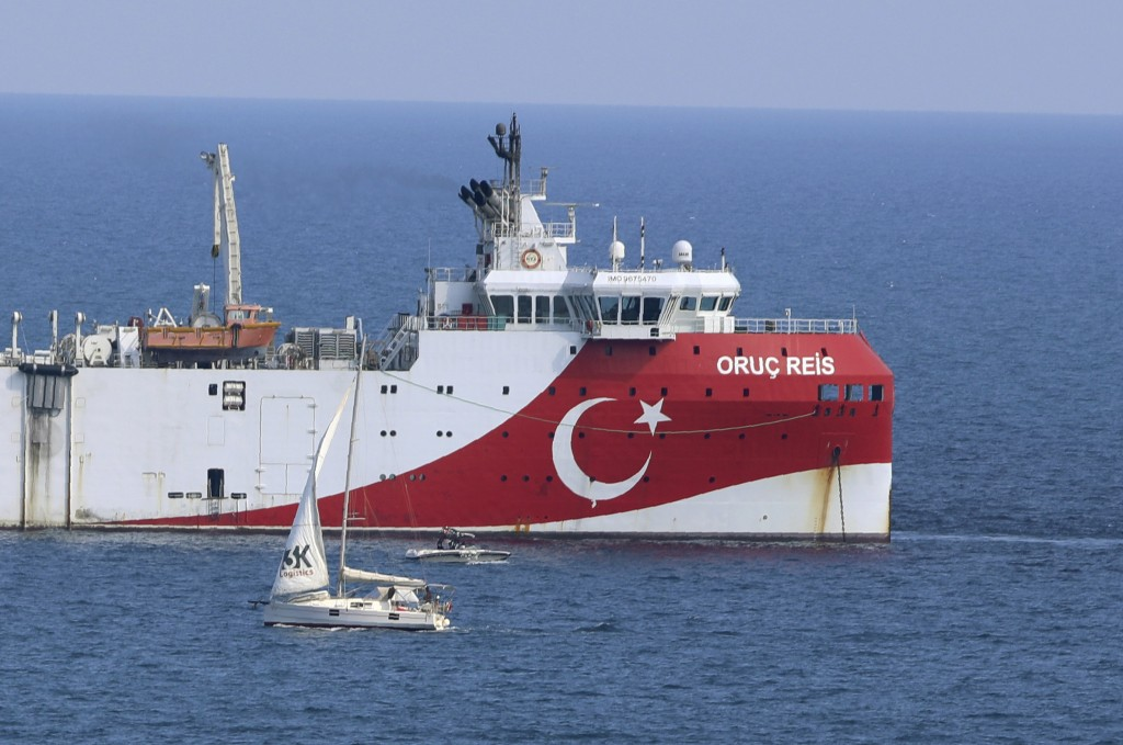 FILE - In this Sunday, Sept. 13, 2020 file photo, Turkey's research vessel, Oruc Reis anchored off the coast of Antalya on the Mediterranean, Turkey. ...