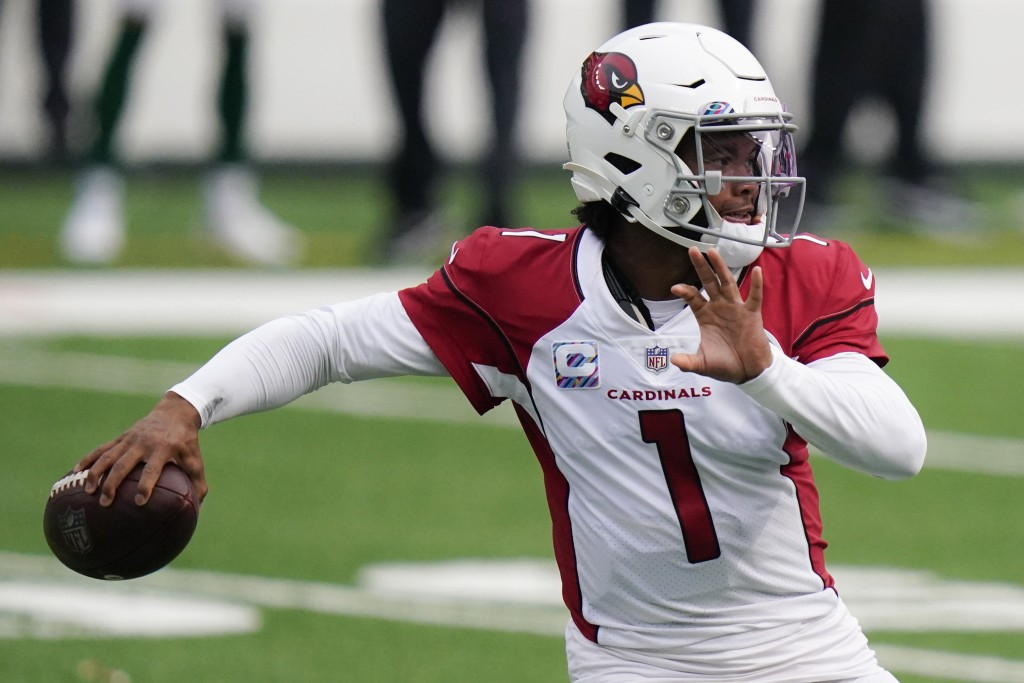 Arizona Cardinals quarterback Kyler Murray looks to pass during the first half of an NFL football game against the New York Jets, Sunday, Oct. 11, 202...