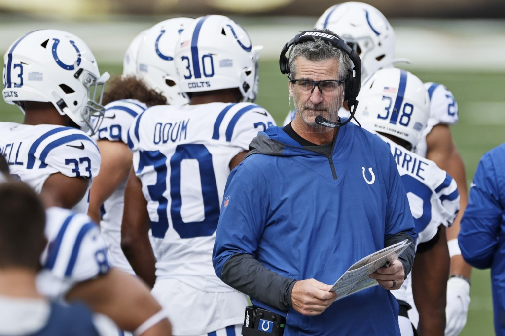 Indianapolis Colts head coach Frank Reich keeps watch during the first half of an NFL football game against the Cleveland Browns, Sunday, Oct. 11, 202...