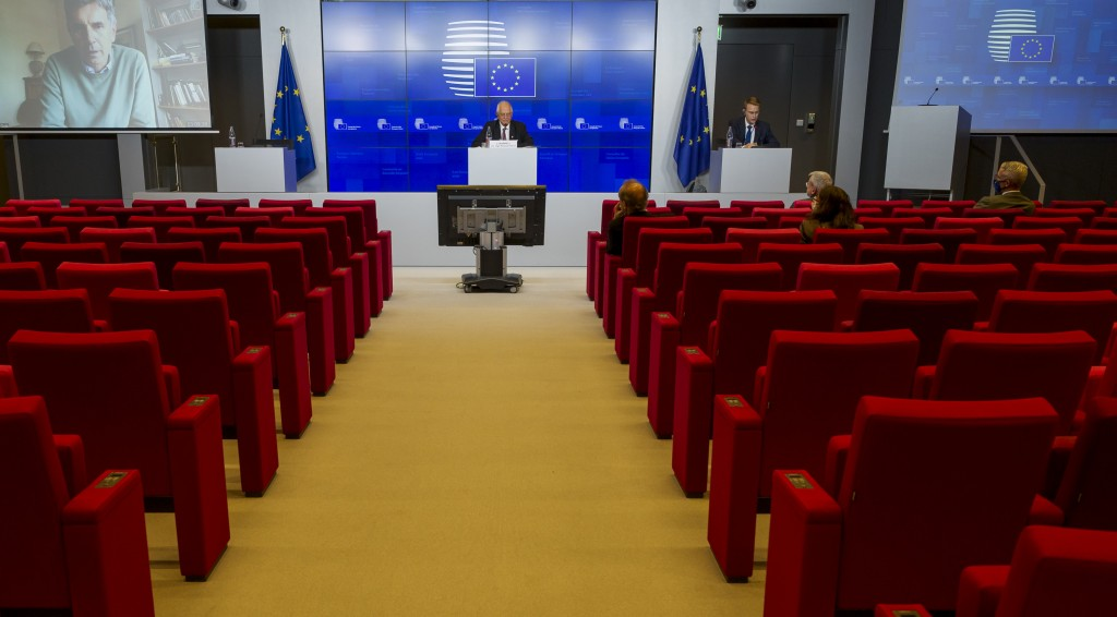 European Union foreign policy chief Josep Borrell speaks during a media conference after a meeting of EU foreign ministers at the European Council bui...