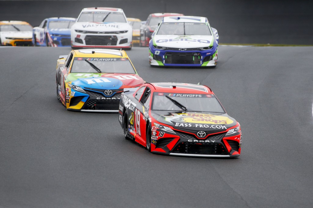 Martin Truex Jr. (19) competes in a NASCAR Cup Series auto race at Charlotte Motor Speedway in Concord, N.C., Sunday, Oct. 11, 2020. (AP Photo/Nell Re...