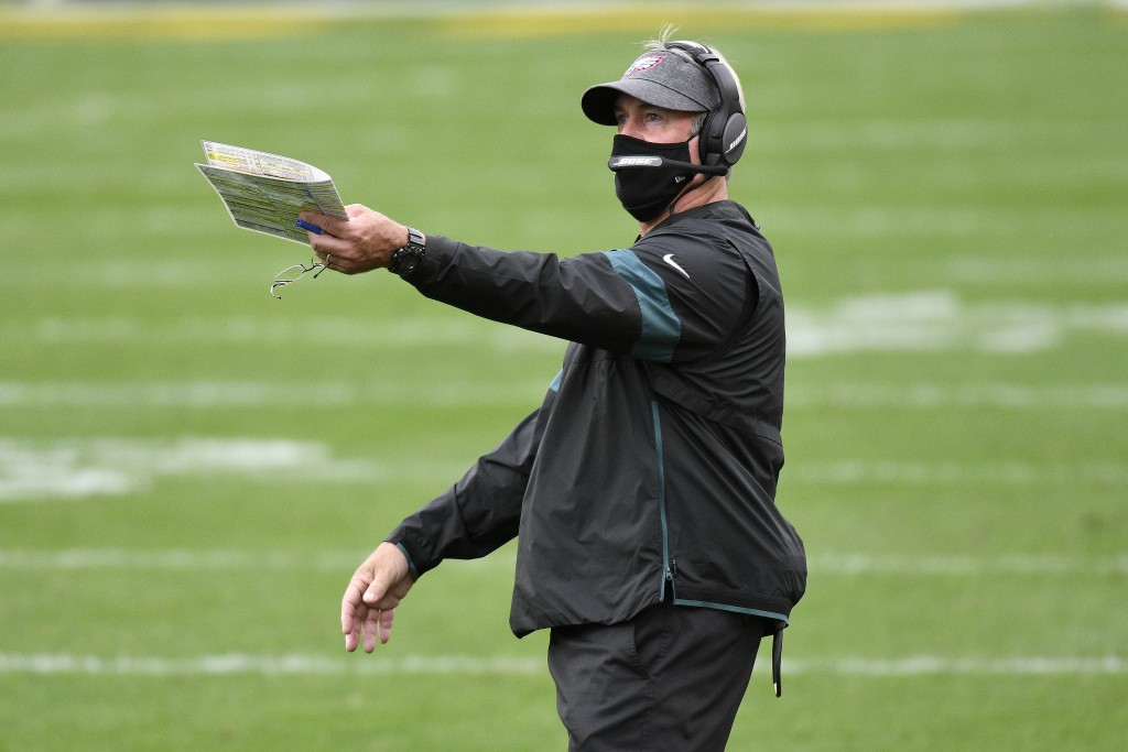 Philadelphia Eagles head coach Doug Pederson gives instructions during the first half of an NFL football game against the Pittsburgh Steelers in Pitts...